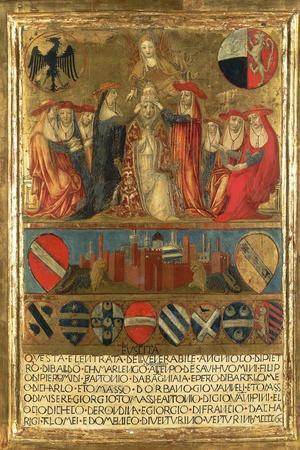 Coronation of Pope Pius II, with City of Siena at Bottom Guarded by Two Heraldic Lions