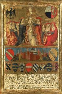 Coronation of Pope Pius II, with City of Siena at Bottom Guarded by Two Heraldic Lions by Giovanni di Paolo