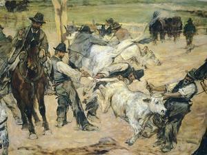 Branding of Young Bulls in Maremma, Circa 1887 by Giovanni Fattori