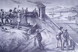 Defense of Livorno from Fort San Pietro by Giovanni Fattori