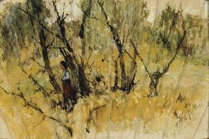 Forest with a Figure, the Study of a Fan by Giovanni Fattori