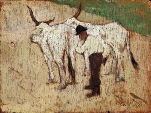 Herdsman and Cattle by Giovanni Fattori