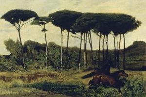 Horses on a Mound, 1867 by Giovanni Fattori