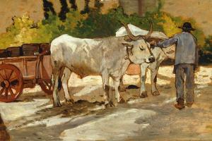 Oxen in Yard by Giovanni Fattori