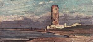 The Tower of Marzocco, or Red Tower by Giovanni Fattori
