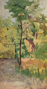 'Tree and Woodpath', c19th century by Giovanni Fattori