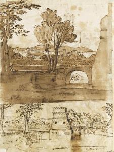 Deux études du même paysage avec un pont, sous deux angles différents by Giovanni Francesco Grimaldi