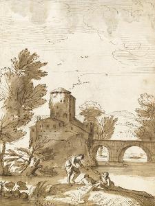 Trois baigneurs dans un paysage, avec un bâtiment près d'un pont by Giovanni Francesco Grimaldi