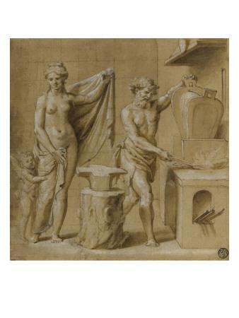 Vénus et l'Amour dans la forge de Vulcain