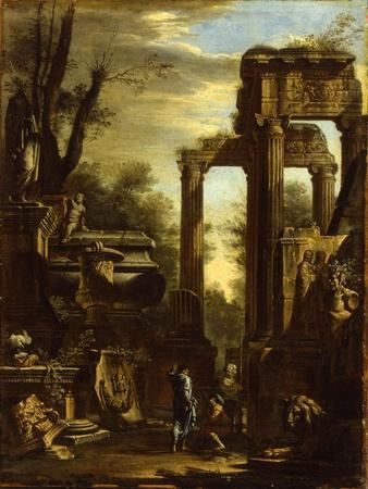Capriccio of Classical Ruins and Statuary with Figures Conversing