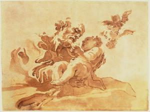 Saint Joseph Adoring the Christ Child (Pen, Ink, Brush and Wash over Traces of Chalk on Paper) by Giovanni Lorenzo Bernini
