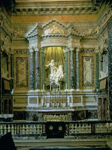 """The Cornaro Chapel,Detail of the Altar with """"The Ecstasy of St. Teresa"""" by Giovanni Lorenzo Bernini"""