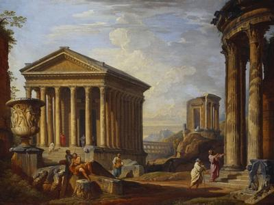 A Capriccio of Classical Ruins with the Maison Caree at Nimes, the Temple of the Sybil at Tivoli,…