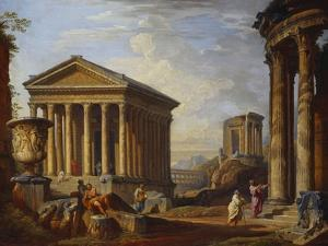 A Capriccio of Classical Ruins with the Maison Caree at Nimes, the Temple of the Sybil at Tivoli,… by Giovanni Paolo Panini
