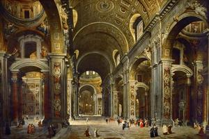 Cardinal Melchior De Polignac Visiting the Basilica of Saint Peter in Rome by Giovanni Paolo Panini