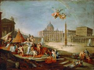 Piazza San Pietro, Rome with an Allegory of the Triumph of the Papacy by Giovanni Paolo Panini