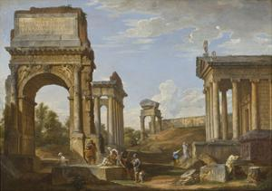 Roman Ruins with the Arch of Titus, 1734 by Giovanni Paolo Panini