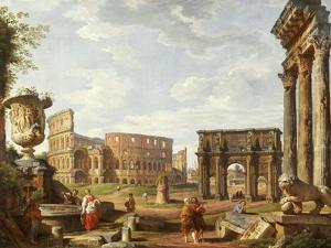 A Capriccio View of Rome with the Colosseum, the Arch of Constantine, 1743 by Giovanni Paolo Pannini