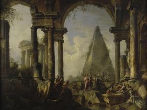 Alexandre le Grand devant le tombeau d'Achille by Giovanni Paolo Pannini