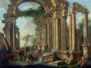 An Architectural Capriccio with Statues of the Warrior Agasias and the Apollo Belvedere by Giovanni Paolo Pannini