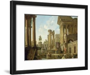 Architectural Capriccio with Ruins, Equestrian Statue of Marcus Aurelius and Figures by a Pool by Giovanni Paolo Pannini