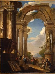 Capricci of Roman Ruins with Figures by Giovanni Paolo Pannini