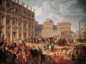 Charles III Visiting Saint Peter's Basilica, Rome, 1746 by Giovanni Paolo Pannini