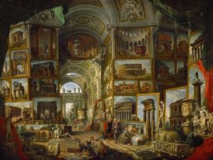 Galerie de vues de la Rome antique, painted 1756-57 for the Duc de Choiseul. by Giovanni Paolo Pannini
