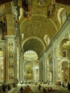 Interior of St. Peter's Basilica, 1754 by Giovanni Paolo Pannini
