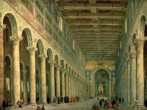 Interior of the Church of San Paolo Fuori Le Mura, Rome, 1750 by Giovanni Paolo Pannini
