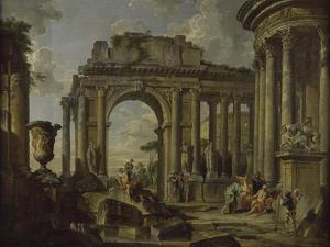 L'Aumône à Bélisaire dans des ruines by Giovanni Paolo Pannini