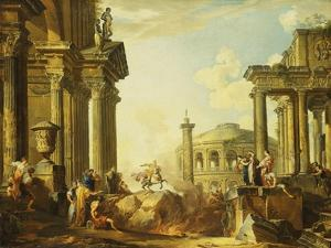 Marcus Curtius Leaping into the Chasm by Giovanni Paolo Pannini