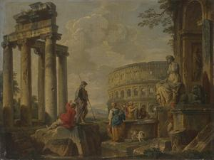 The Coliseum Amongst Roman Ruins, c.1730 by Giovanni Paolo Pannini or Panini