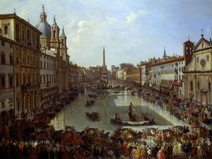 Piazza Navona in Rome Set under Water by Giovanni Paolo Pannini