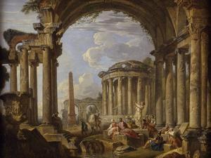 Prédication dans des ruines antiques by Giovanni Paolo Pannini