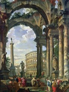 Roman Capriccio, 18th Century by Giovanni Paolo Pannini
