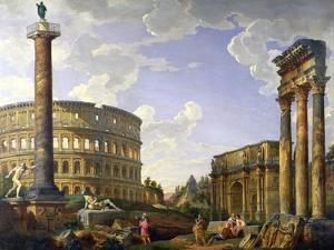 Roman Capriccio Showing the Colosseum, Borghese Warrior, Trajan's Column, the Dying Gaul, Tomb of… by Giovanni Paolo Pannini