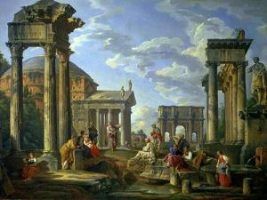 Roman Ruins with a Prophet, 1751 by Giovanni Paolo Pannini