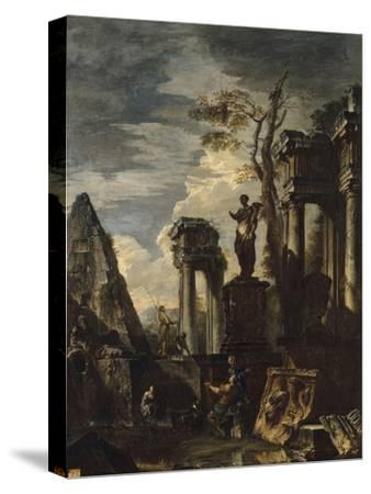Ruines d'architecture antique avec la pyramide de Cestius et la statue de Flore.