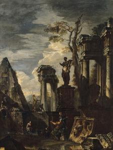Ruines d'architecture antique avec la pyramide de Cestius et la statue de Flore. by Giovanni Paolo Pannini