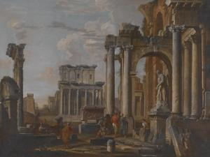 Ruins with the Temple of Antonius and Faustina, C.1727-30 by Giovanni Paolo Pannini
