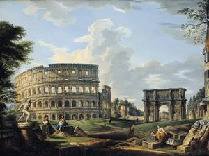 The Colosseum and the Arch of Constantine by Giovanni Paolo Pannini