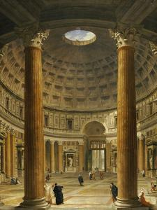 The Interior of the Pantheon, Rome, Looking North from the Main Altar to the Entrance, 1732 by Giovanni Paolo Pannini