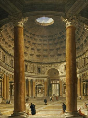 The Interior of the Pantheon, Rome, Looking North from the Main Altar to the Entrance, 1732