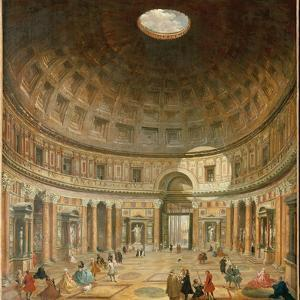 The Interior of the Pantheon, Rome by Giovanni Paolo Pannini