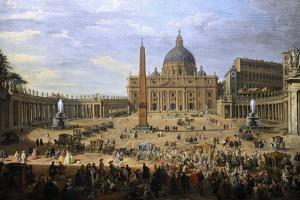 The Output of the Duke of Choiseul (1719-1785) of St. Peter's Square in Rome by Giovanni Paolo Pannini