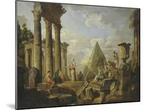 Une Sibylle prêchant dans des ruines by Giovanni Paolo Pannini