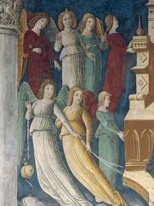Figures of Ladies and of Angels, Detail of Fresco from 1475 by Giovanni Pietro Da Cemmo