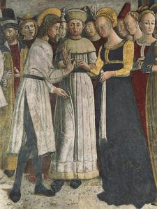 Marriage of Virgin, Detail of Fresco from 1475 by Giovanni Pietro Da Cemmo