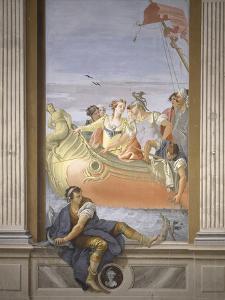 Antony and Cleopatra. Tromp L'Oeil Scene Within Architecture, 1779 by Giovanni Scajaro